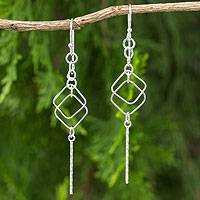 Sterling silver dangle earrings, 'Urban Geometry' - Artisan Crafted Sterling Silver Earrings Modern Design