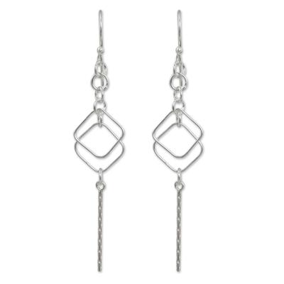 Sterling silver dangle earrings, 'Urban Geometry' - Artisan Crafted Sterling Silver Earrings Modern Design