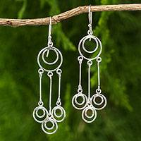 Sterling silver chandelier earrings, 'Concentric' - Thai Sterling Silver Chandelier Earrings Crafted by Hand