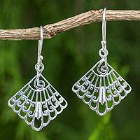 Sterling silver dangle earrings, 'Siam Fans' - Artisan Crafted Sterling Silver Thai Dangle Earrings