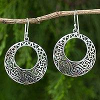 Sterling silver dangle earrings, 'Moonlit Maze' - Artisan Crafted Sterling Silver Thai Dangle Earrings