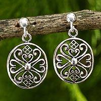 Sterling silver filigree earrings, 'Lanna Enchantress'