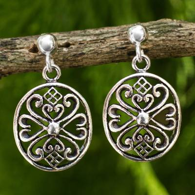 Sterling silver filigree earrings, 'Lanna Enchantress' - Sterling Silver Filigree Dangle Earrings from Thailand