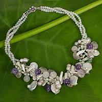 Amethyst and pearl necklace, 'Lilac Rose Garland' - Romantic Rose Quartz, Pearl, and Amethyst Necklace