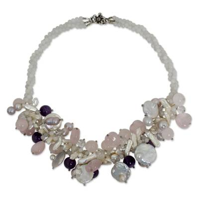 Romantic Rose Quartz, Pearl, and Amethyst Necklace
