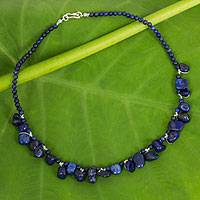 Lapis lazuli beaded necklace, 'Bold in Blue'