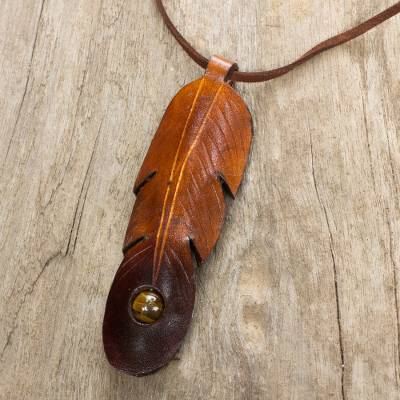 Tiger's eye and leather necklace, 'Feather Spirit' - Brown Leather Feather Pendant Necklace with Tiger's Eye