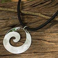 Sterling silver pendant necklace, 'Pacific Surf' - Artisan Sterling Silver 925 Pendant on Black Silk Cord