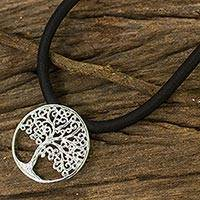 Sterling silver pendant necklace, 'The Tree' - Artisan Necklace Featuring Silver Tree Pendant on Silk Cord