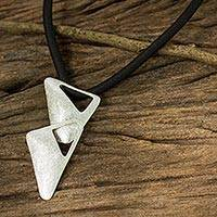 Sterling silver pendant necklace, 'Jet Set' - Modern Style Silver Pendant Necklace from Thai Artisan