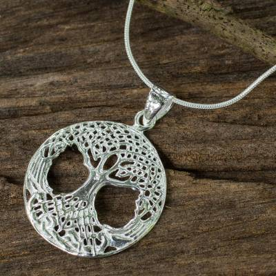 Sterling silver pendant necklace, 'Celtic Tree' - Original Artisan Made Sterling 925 Tree Pendant Necklace