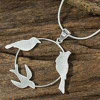 Sterling silver pendant necklace, 'Tropical Birds' - Fair Trade Bird Pendant Necklace Crafted in Sterling Silver