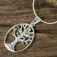 Sterling silver pendant necklace, 'Winter Tree' - Tree Pendant Necklace in Silver from Thai Jewelry Artisan