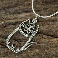 Sterling silver pendant necklace, 'Whimsical Cat' - Charming Sterling Silver Cat Pendant Necklace on Snake Chain