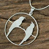 Sterling silver pendant necklace, 'Life Mates' - Handcrafted Brushed Silver Birds Pendant Necklace