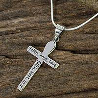 Sterling silver cross necklace, 'Faith, Hope, Love' - Handmade Women's Silver Cross Pendant Necklace