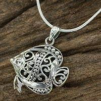 Sterling silver pendant necklace, 'Elegant Fish'