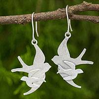 Sterling silver dangle earrings, 'First Flight' - Brushed Sterling Silver Bird Dangle Earrings from Thailand