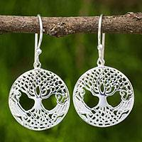 Sterling silver dangle earrings, 'Celtic Tree' - Celtic Style Tree Earrings Handmade in Sterling Silver