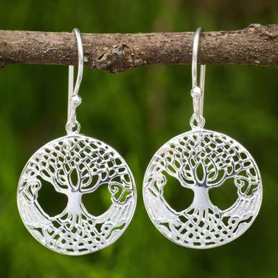Sterling silver dangle earrings, 'Celtic Tree' - Celtic Style Tree Earrings Handmade in Sterling Silver