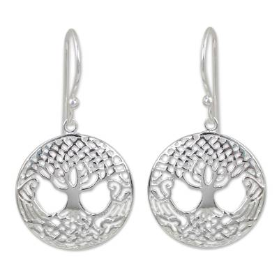 Celtic Style Tree Earrings Handmade in Sterling Silver