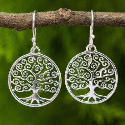 Sterling silver dangle earrings, 'Spiral Tree' - Handcrafted 925 Sterling Silver Tree Dangle Earrings