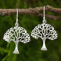 Sterling silver dangle earrings, 'Autumn Tree' - Bare Tree Dangle Earrings Made by Hand from Sterling Silver