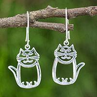 Sterling silver dangle earrings, 'Whimsical Cat'