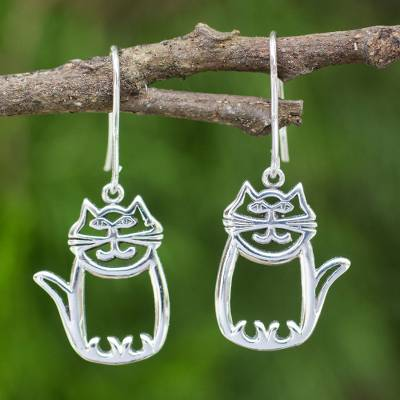 Sterling silver dangle earrings, 'Whimsical Cat' - Cute Sterling Silver Cat Dangle Earrings from Thai Artisan