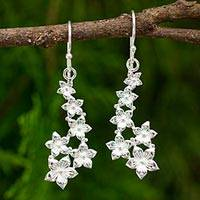 Sterling silver dangle earrings, 'Petite Flowers' - Flower Dangle Earrings Hand Crafted in Sterling Silver