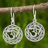 Sterling silver dangle earrings, 'Celtic Om' - Om Mantra Dangle Earrings Made from 925 Sterling Silver