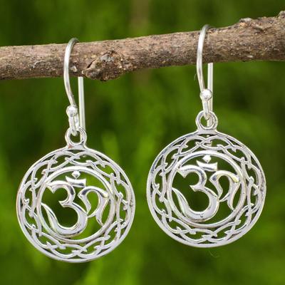 Sterling silver dangle earrings, 'Celtic Om' - Om Mantra Dangle Earrings Made from 925 Sterling Silver