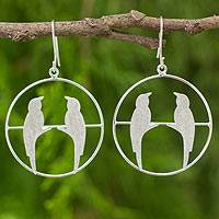Sterling silver dangle earrings, 'Life Mates' - Original Sterling Silver Bird Earrings with Brushed Finish