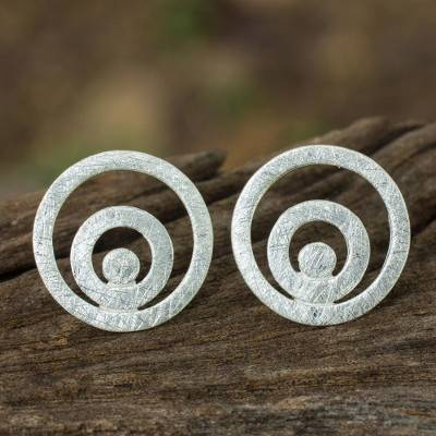 Sterling silver button earrings, 'Reverberation' - Handmade Thai Sterling Silver Button Style Earrings