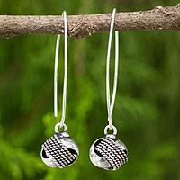Sterling silver dangle earrings, 'Bold Embrace' - Fair Trade Contemporary Style Sterling Dangle Earrings