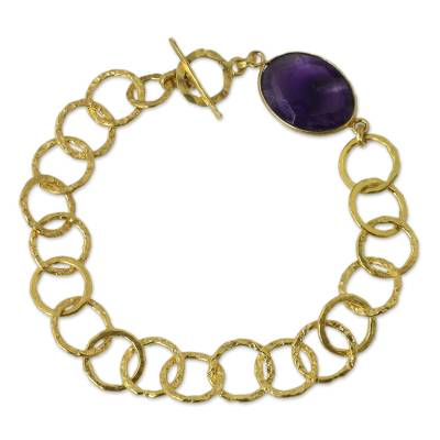 Fair Trade Bracelet with 24k Gold Plate and Amethyst