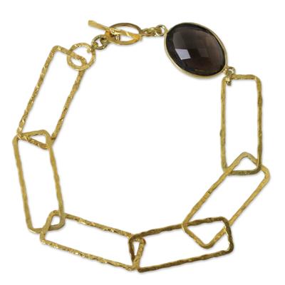 Gold plated smoky quartz link bracelet, 'Golden Coffee' - Hand Crafted Smoky Quartz Bracelet with 24k Gold Plate