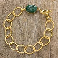 Gold plated quartz link bracelet, 'Golden Forest' - Green Quartz Pendant Bracelet with 24k Gold Plated Links