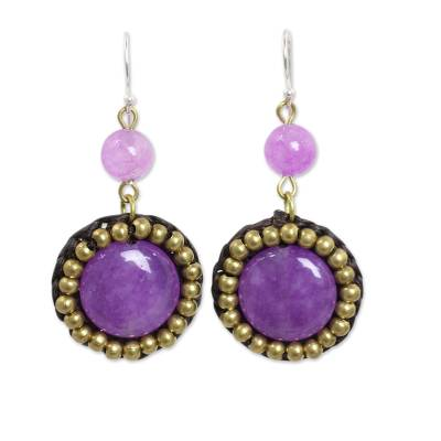 Fair Trade Earrings with Purple Quartz and Brass Beads
