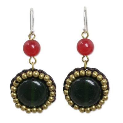Dark Green and Bright Pink Quartz and Brass Earrings