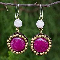 Quartz dangle earrings, 'Spring Garden Path' - Handmade Beaded Pink Quartz and Brass Earrings