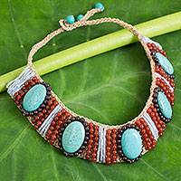 Carnelian and garnet beaded collarette necklace, 'Summer Jazz' - Handcrafted Carnelian, Garnet, and Blue Calcite Necklace