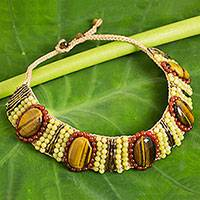 Tiger's eye and carnelian beaded collarette necklace, 'Hot Jazz' - Hand Crocheted Bead Necklace with Tiger's Eye