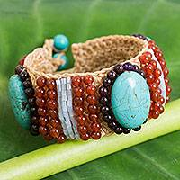 Carnelian and garnet beaded wristband bracelet, 'Summer Jazz' - Crocheted Bracelet with Calcite, Carnelian and Garnet Beads