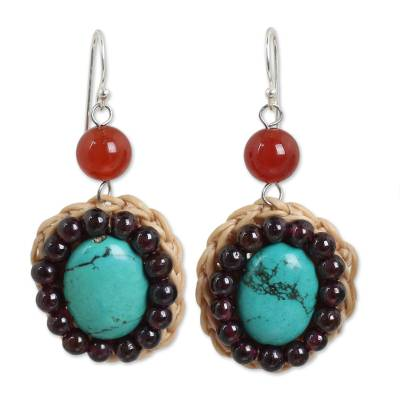 Colorful Beaded Dangle Earrings with Carnelian and Garnet
