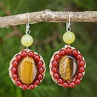 Tiger's eye and carnelian dangle earrings, 'Hot Jazz' - Crocheted Dangle Earrings with Tiger's Eye and Carnelian