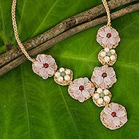 Rose quartz and cultured pearl flower necklace, 'Floral Garland in Pink' - Rose and Green Quartz and Cultured Pearl Flower Necklace
