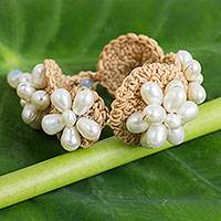 Cultured pearl flower bracelet, 'Floral Garland in White' - Hand Crocheted Bracelet with White Cultured Pearls