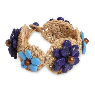 Floral Hand-Crocheted Lapis Lazuli and Carnelian Bracelet