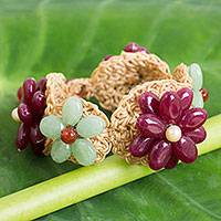 Quartz flower bracelet, 'Floral Garland in Berry' - Deep Pink and Green Quartz Crocheted Flower Bracelet